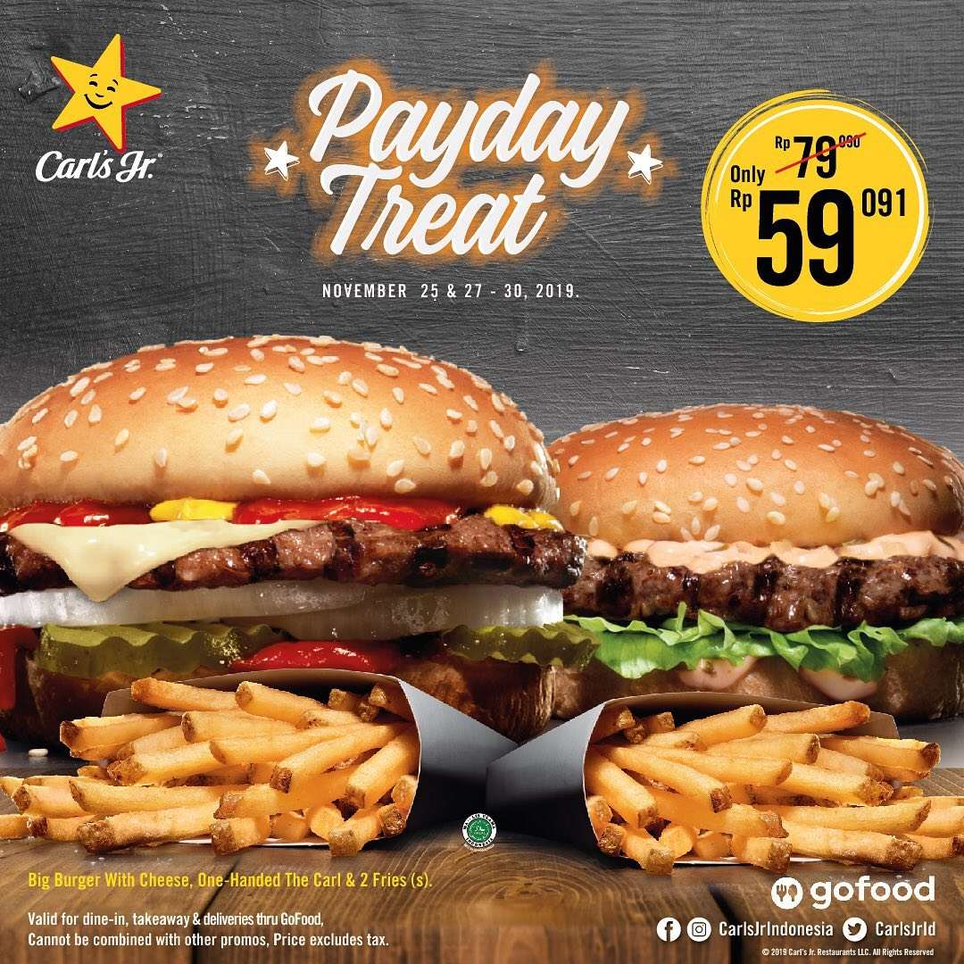 Diskon Carls Jr Promo Payday Treat 2 burger juicy + 2 Small Fries hanya Rp 59.091,-