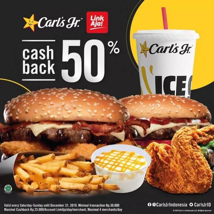 Diskon Carls Jr Promo Cashback 50% LinkAja Setiap Sabtu & Minggu