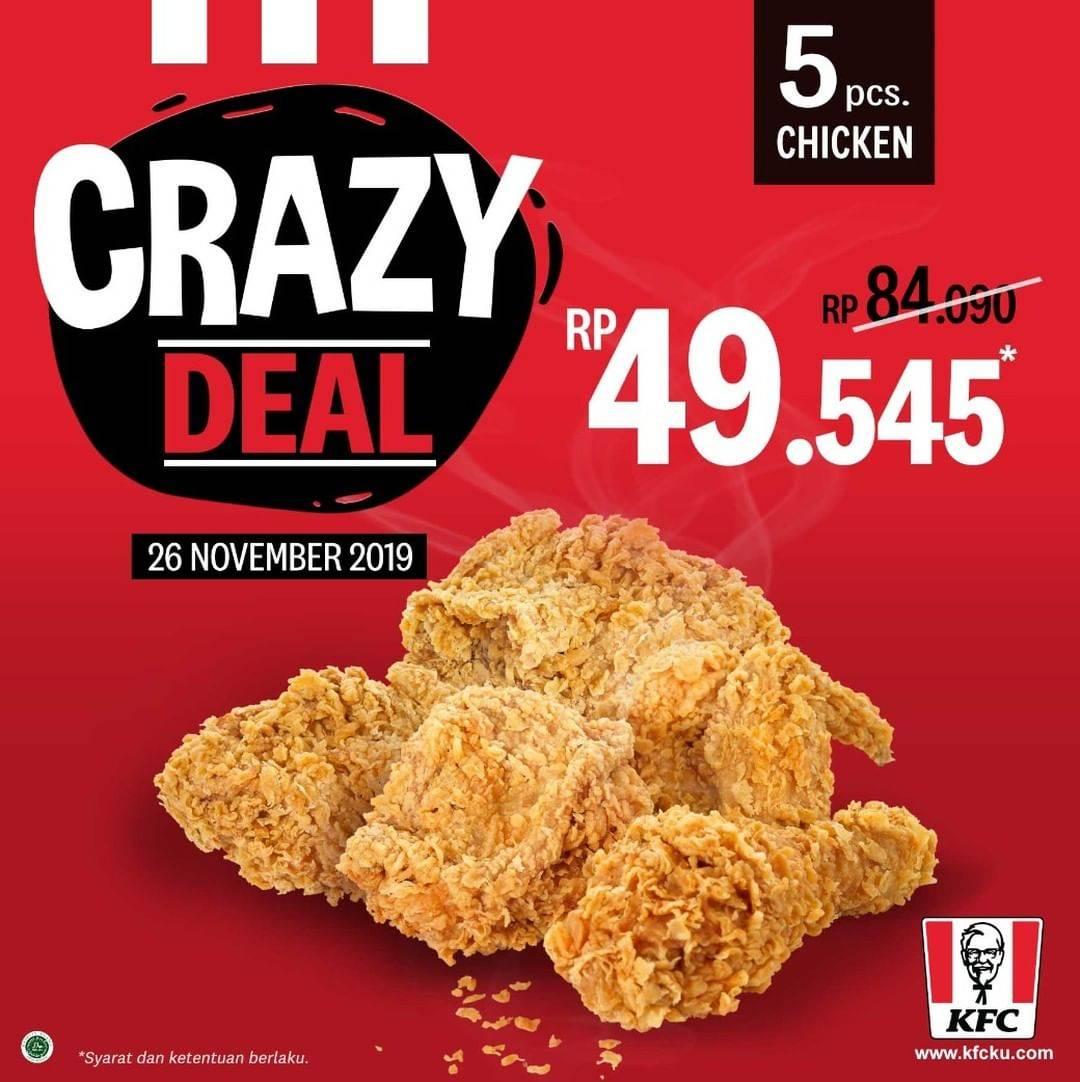 KFC Promo Crazy Deal Paket 5 Potong Ayam Hanya Rp 49.545