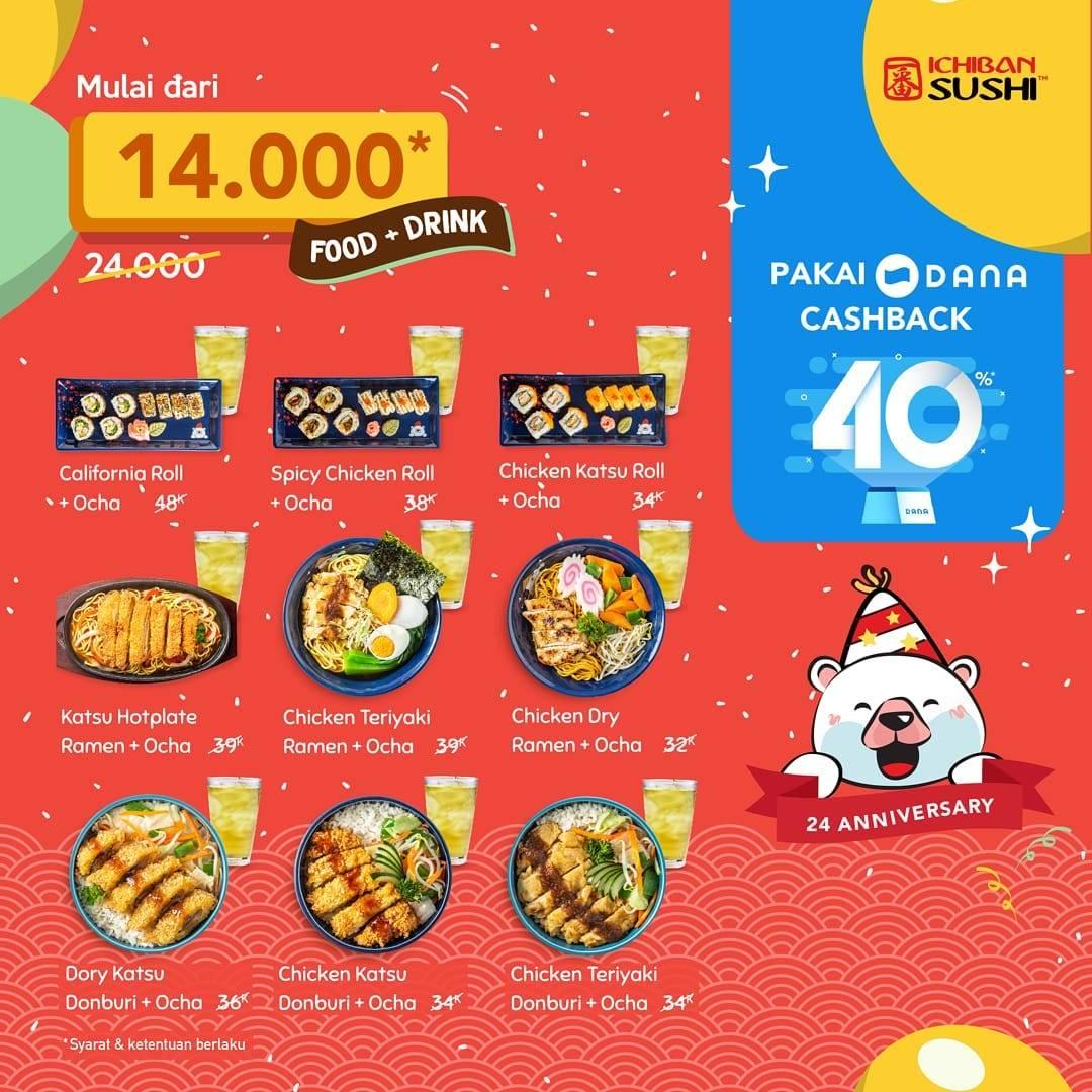 Ichiban Sushi Promo Paket Makan + Minum pakai Dana Mulai Rp. 14.000