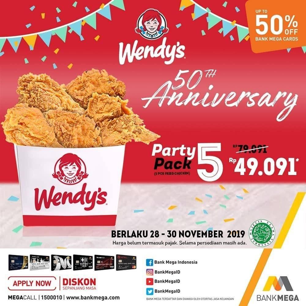 Wendy's Diskon 50% untuk pembelian Party Pack 5 dengan kartu kredit dan debit Bank Mega