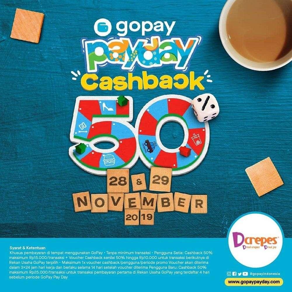 Diskon D'Crepes Promo Cashback Gajian dengan GoPay