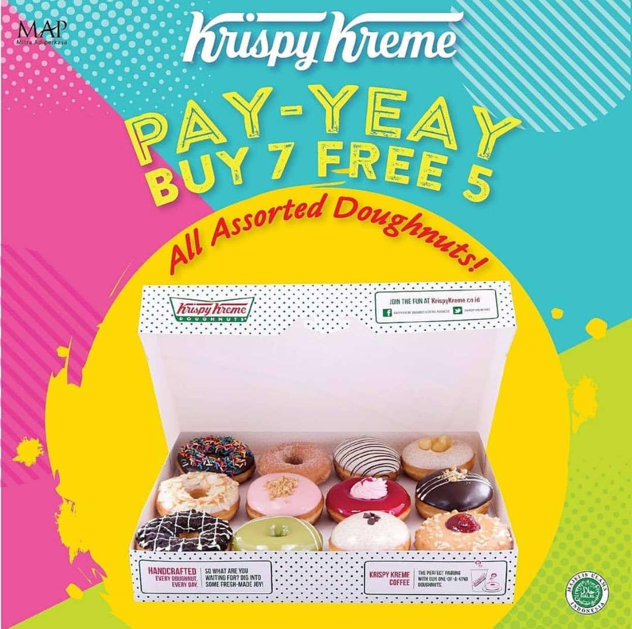 Diskon Krispy Kreme Promo PAY-YEAY Beli 7 Gratis 5