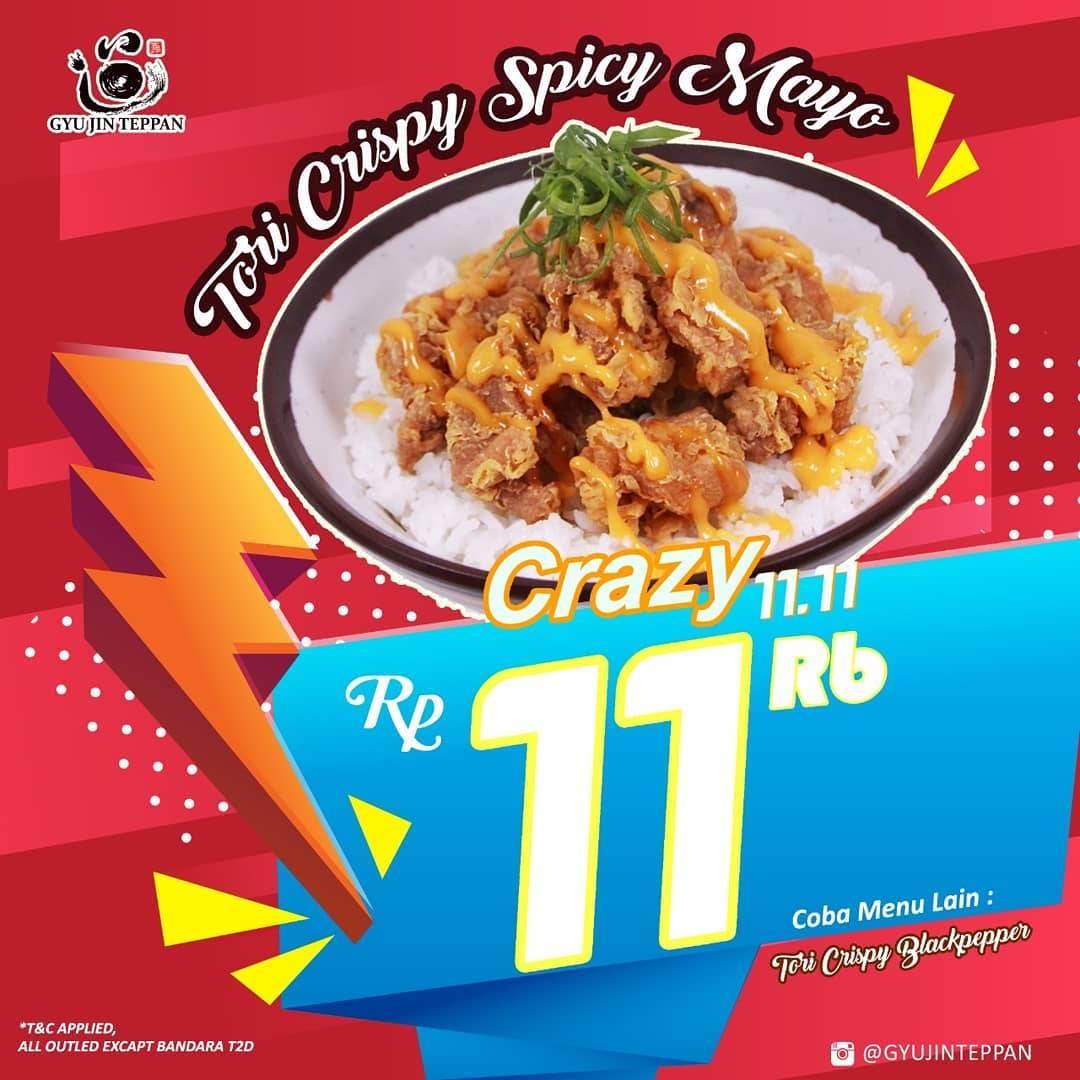 Diskon Gyu Jin Teppan Promo Harga Spesial Tori Crispy Spicy Mayo dan Tori Crispy Blackpepper cuma Rp. 11.00