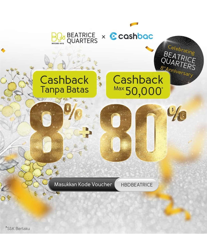 Diskon Beatrice Quarters Promo Cashback 8% + 80% dengan Cashbac App