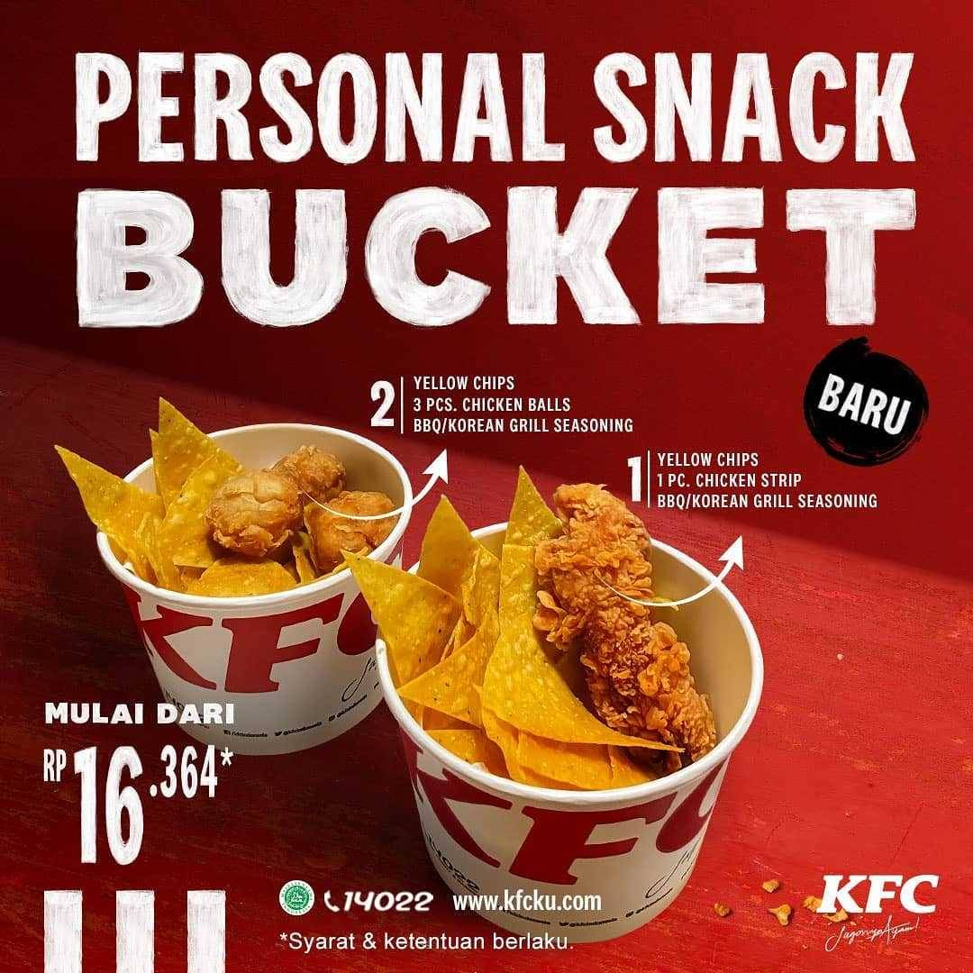 Promo diskon KFC Promo Personal Snack Bucket Harga Mulai Dari Rp. 16.364