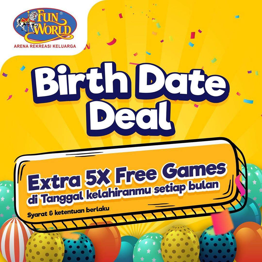 Diskon Fun World Birthday Date Deal - Extra 5x Free Games