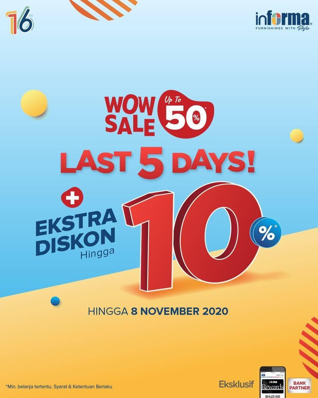 Diskon Informa Wow Sale Up To 50% + Extra Diskon Hingga 10%