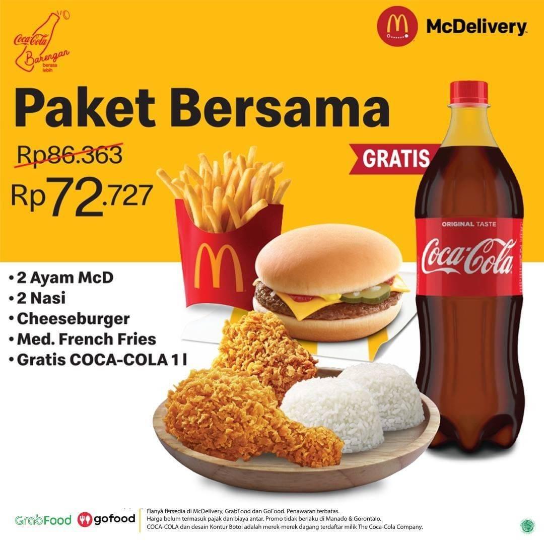 Diskon McDonalds Promo Paket Bersama Gratis Coca Cola 1L
