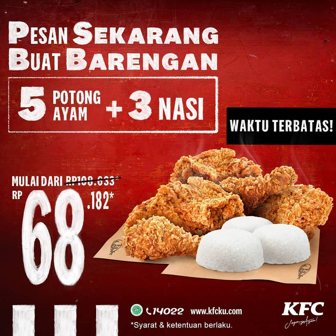 Diskon KFC Promo PSBB - 5 Ayam + 3 Nasi Hanya Rp. 68.182