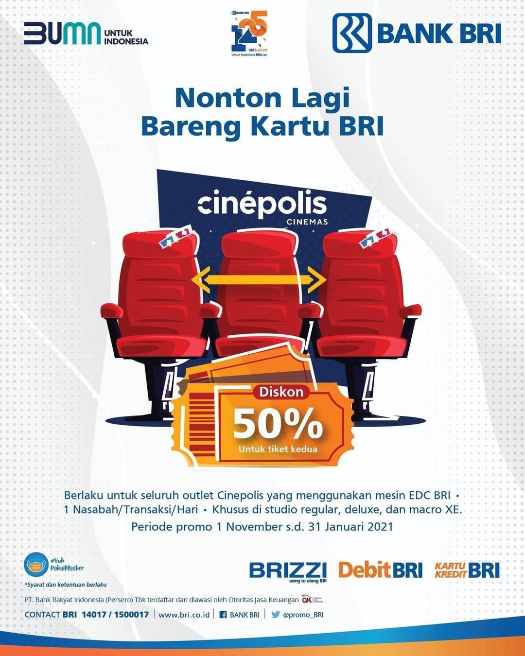 Diskon Cinepolis Diskon 50% Bareng Kartu Bank BRI
