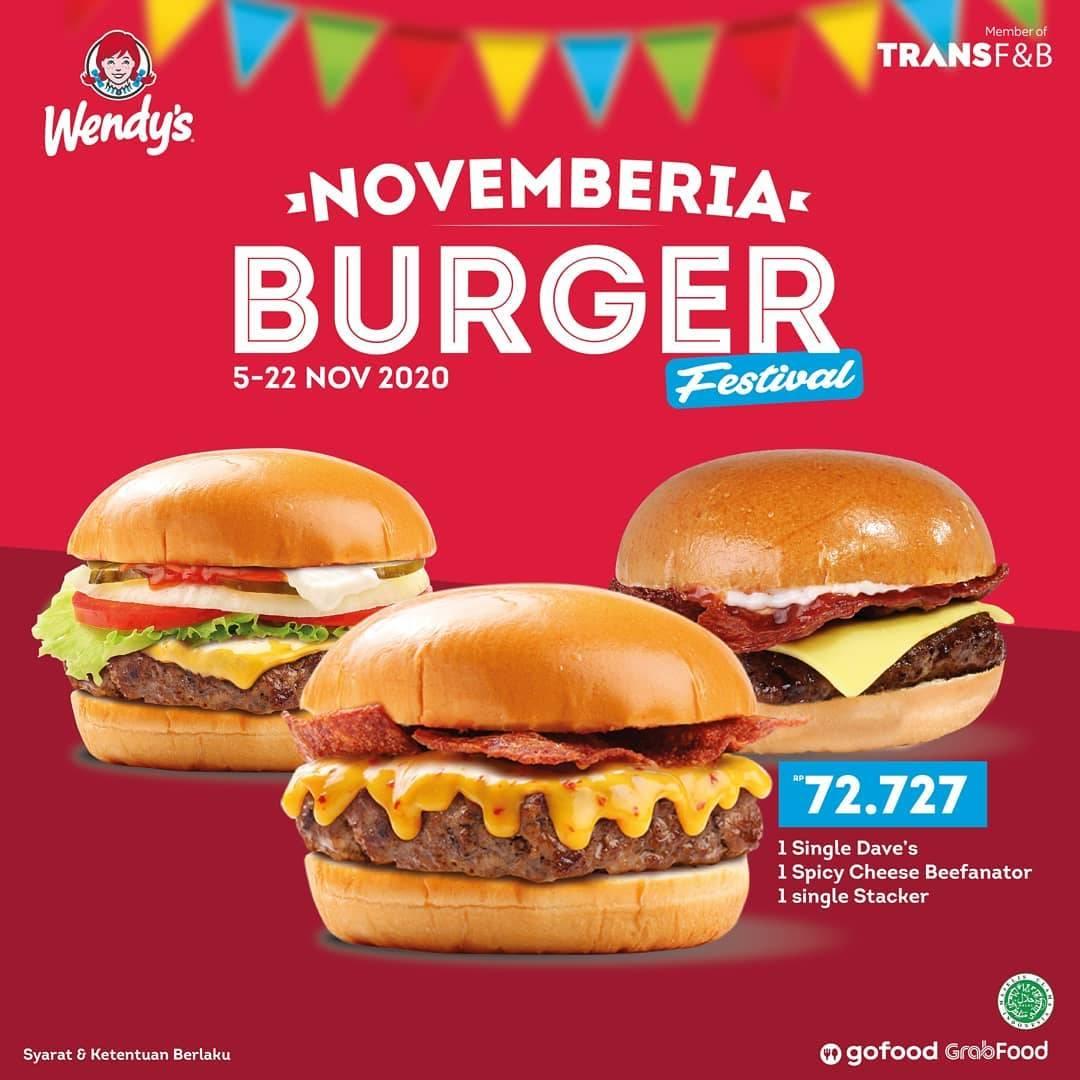 Promo diskon Wendys Promo Burger Festival Novemberia