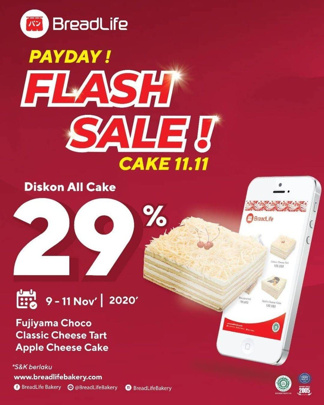 Diskon Breadlife Promo Payday Flash Sale - Discount 29% Off On All Cake