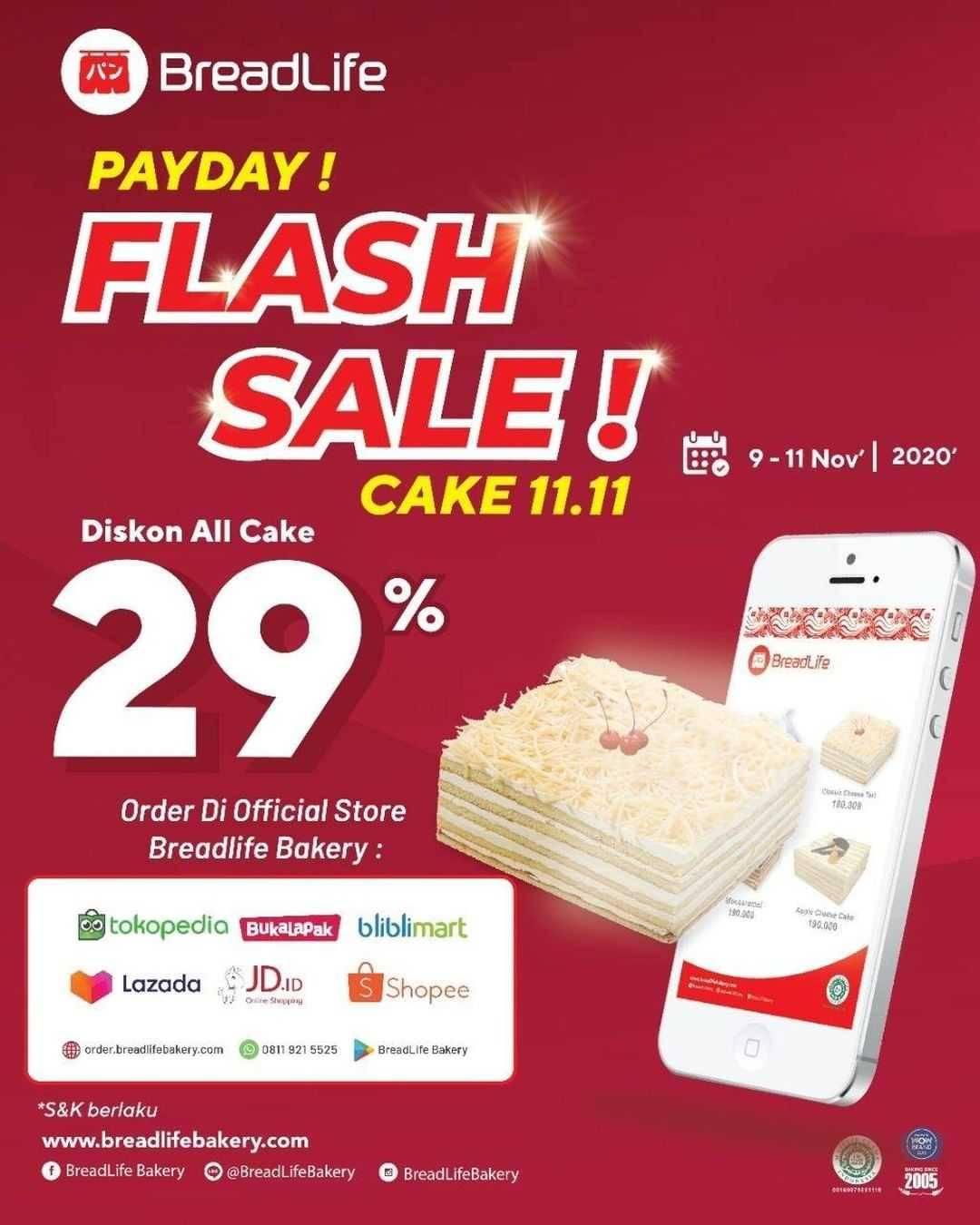 Promo diskon Breadlife Promo Payday Flash Sale - Discount 29% Off On All Cake