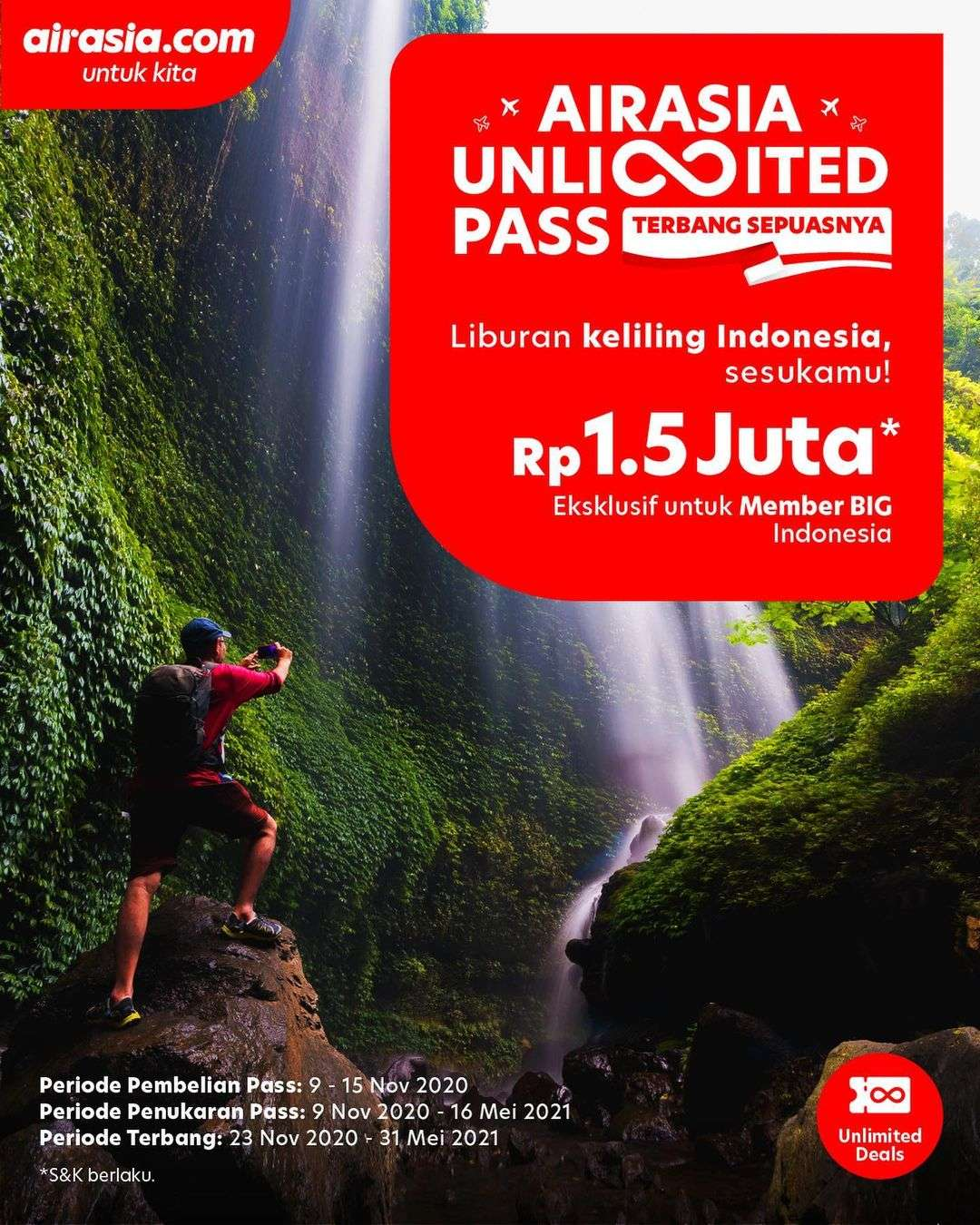 Diskon Airasia Promo Unlimited Pass Unutk Member BIG