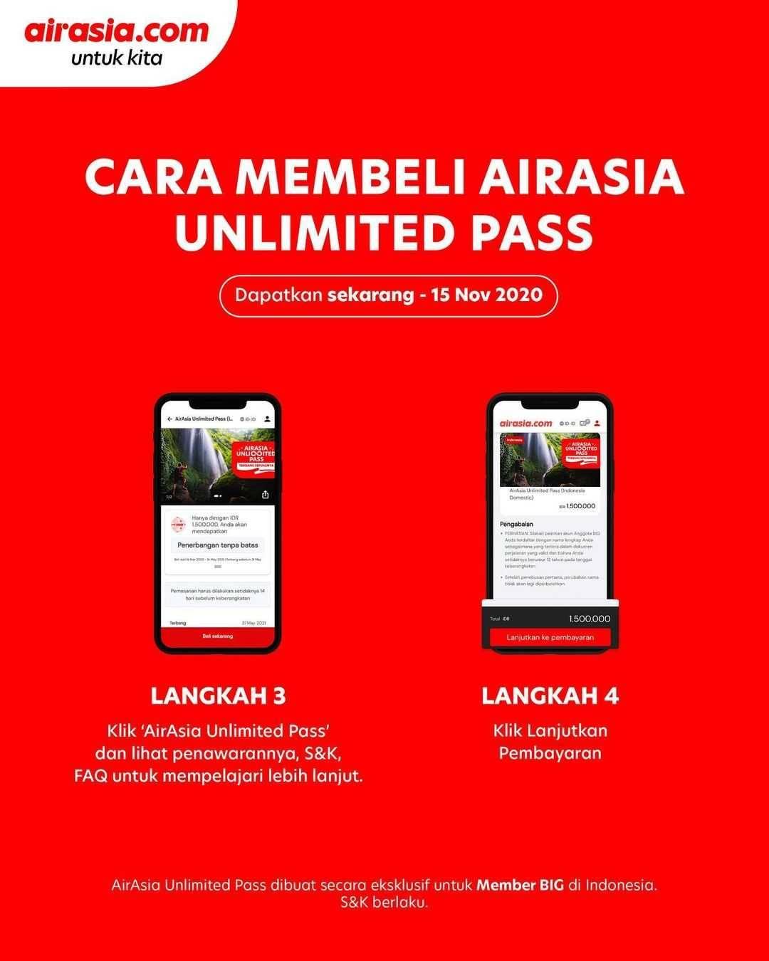 Promo diskon Airasia Promo Unlimited Pass Unutk Member BIG