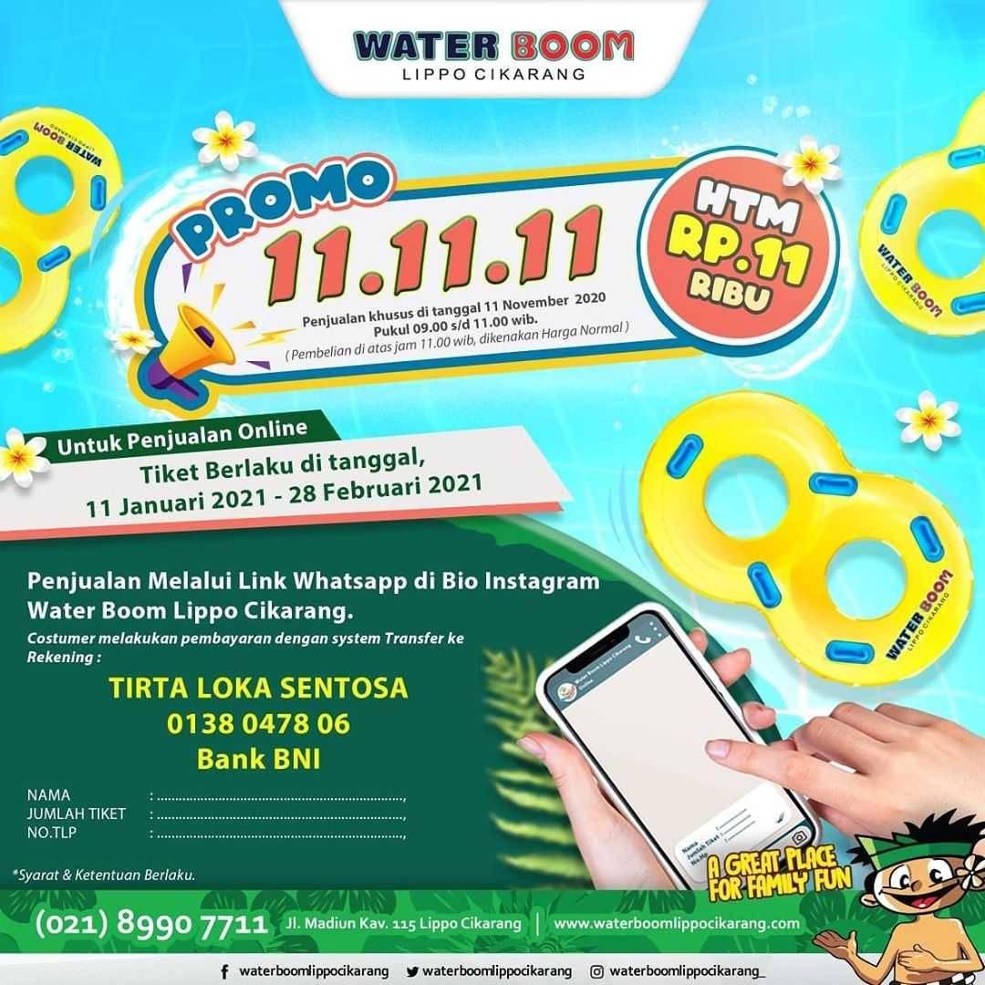 Promo diskon Waterboom Promo 11.11.11 HTM Rp. 11.000