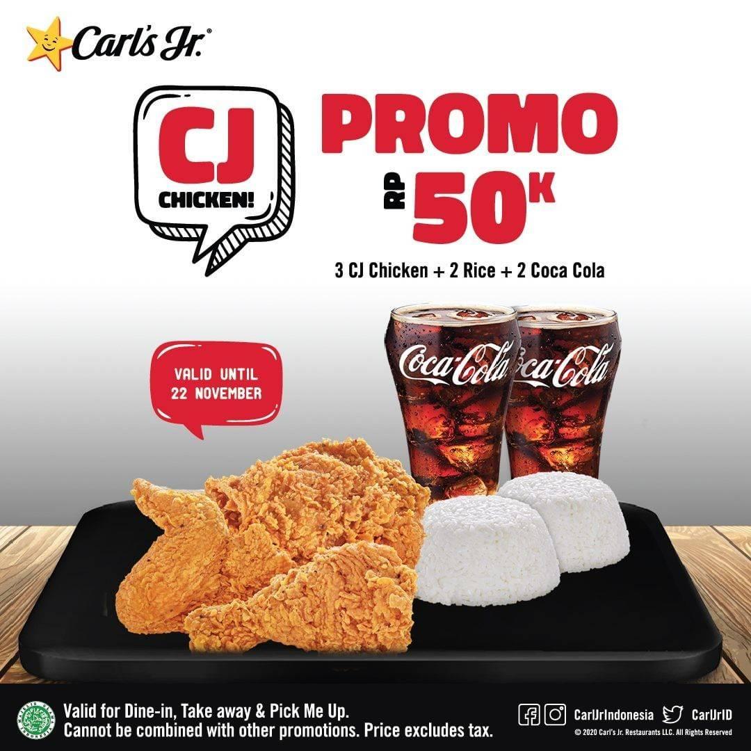 Diskon Carls Jr Promo CJ Chicken Hanya Rp. 50.000