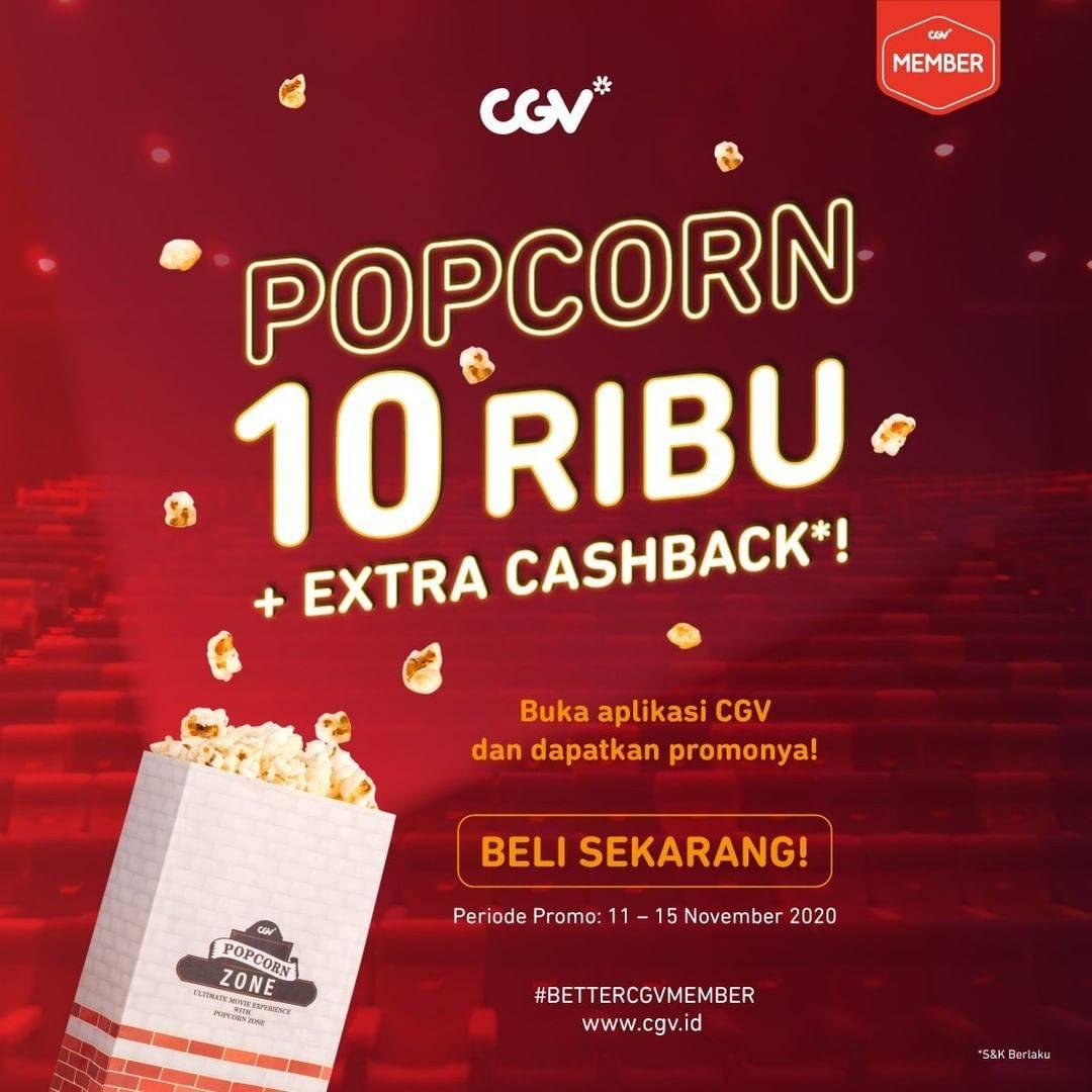 Diskon CGV Promo Popcorn Rp. 10.000 + Extra Cashback