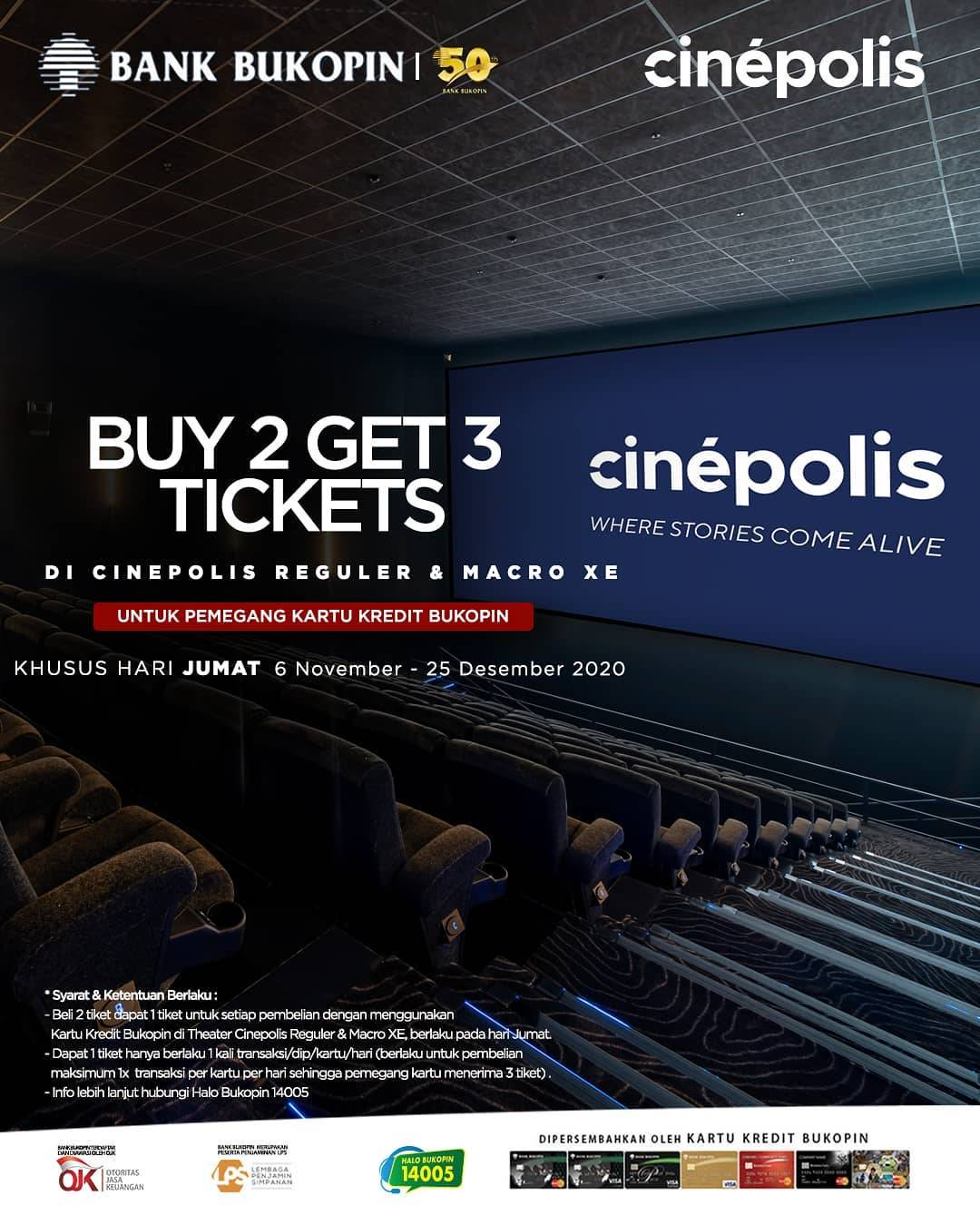 Diskon Cinepolis Buy 2 Get 3 Free Tickets With Bukopin Credit Card
