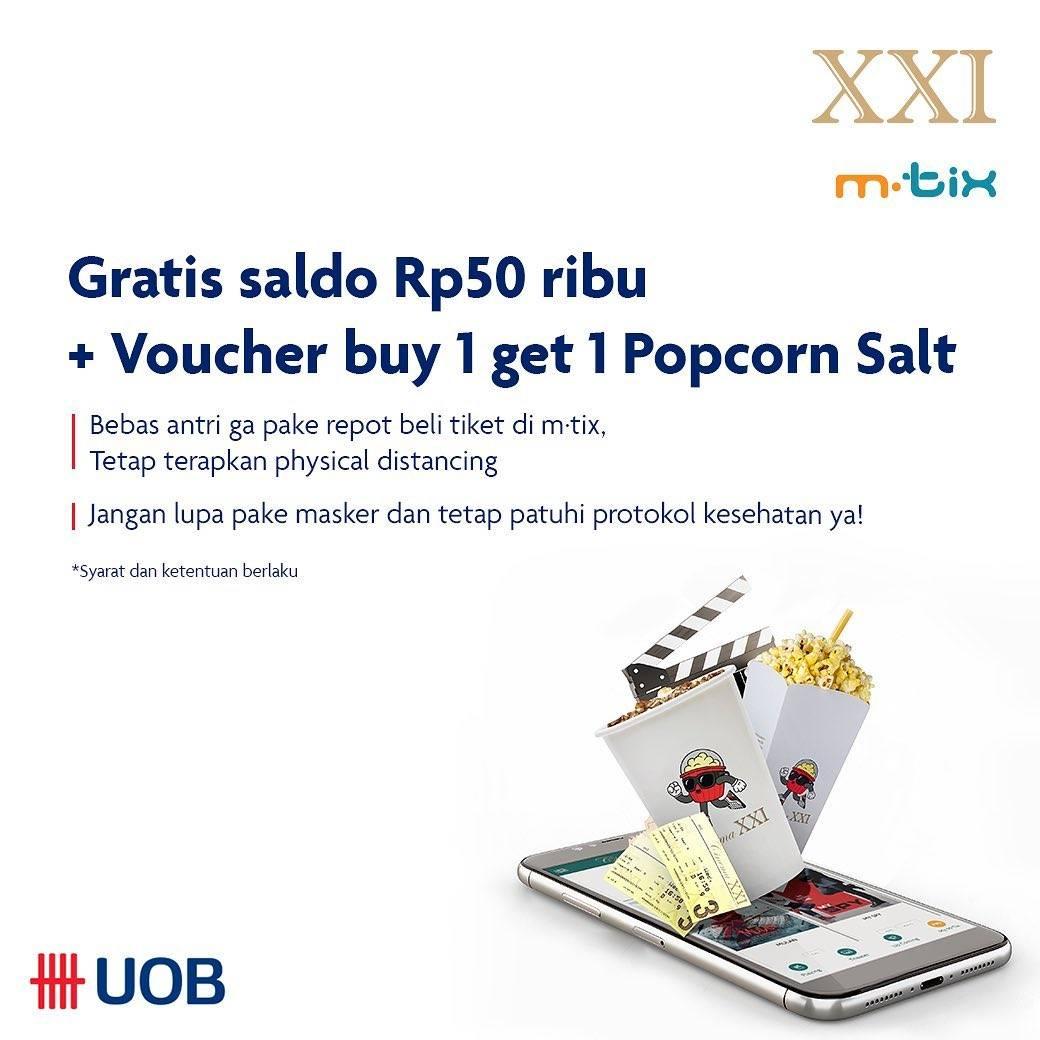 Diskon XXI Promo Gratis Saldo Rp. 50.000 + Voucher Buy 1 Get 1 Free Popcorn Salt