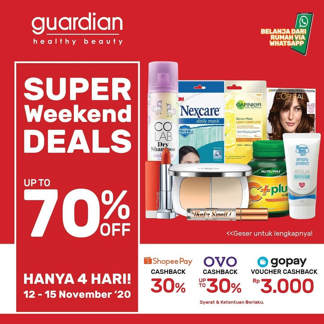 Diskon Katalog Promo Guardian Weekend Deals up to 70% Periode 12 - 15 November 2020