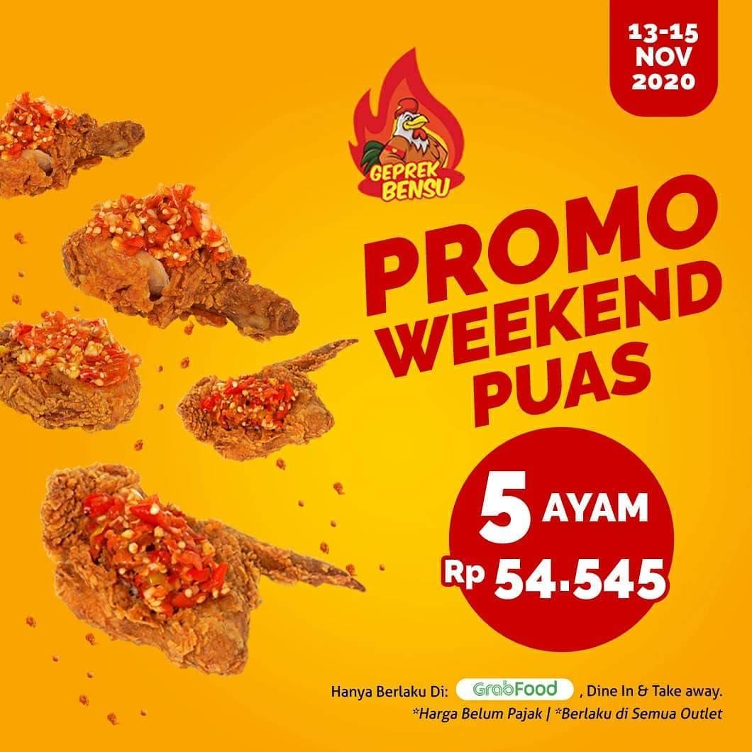 Diskon Geprek Bensu Promo Weekend Puas - 5 Ayam Hanya Rp. 54.545 Di GrabFood