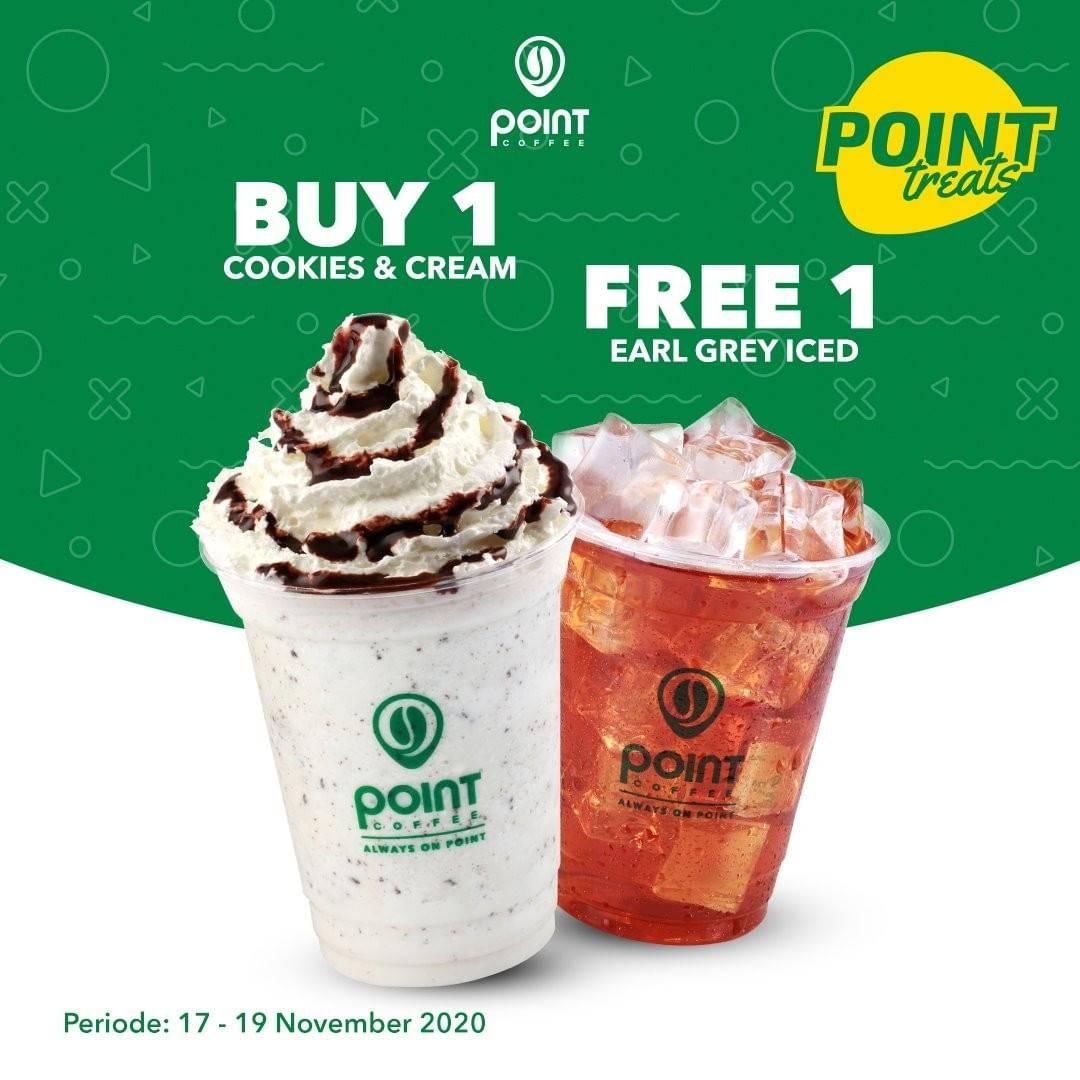 Diskon Point Coffee Buy 1 Cookies & Cream Get 1 Free Earl Grey Iced