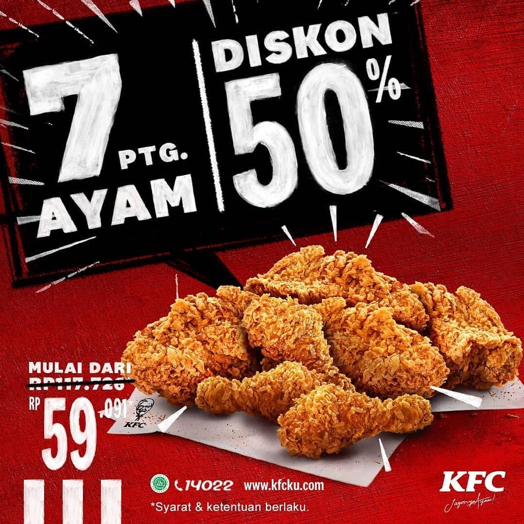 Diskon KFC Promo 7 Potong Ayam Hanya Rp. 59.091