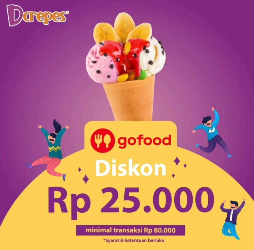 Diskon DCrepes Diskon Rp. 25.000 Untuk Pemesanan Melalui GoFood