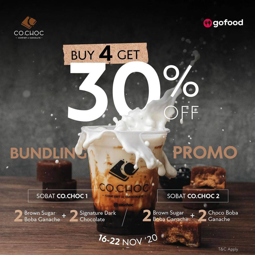 Diskon Co.Choc Buy 4 Get Discount 30% Off On GoFood