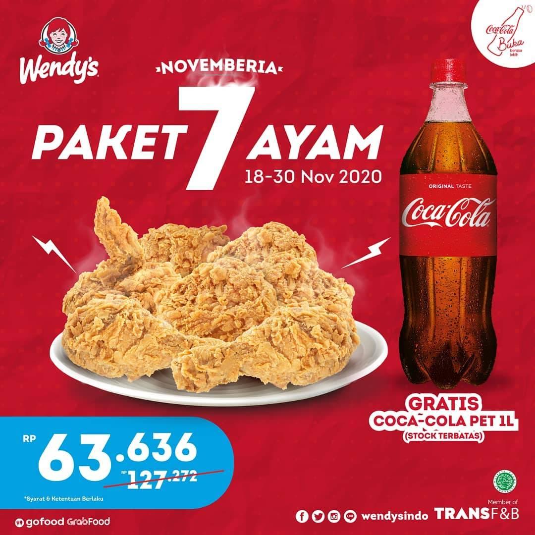 Diskon Wendys Promo Paket 7 Ayam Hanya Rp. 63.636