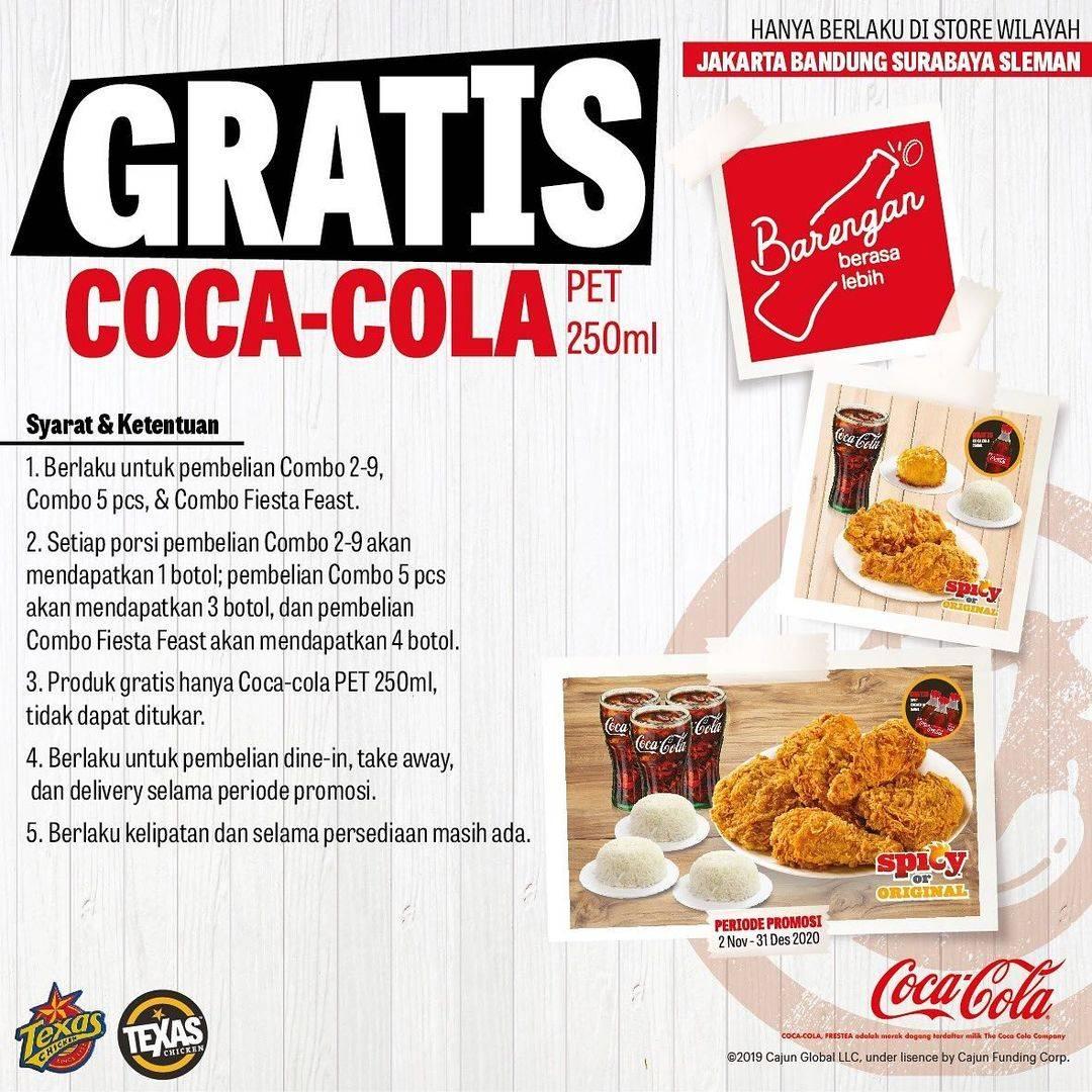 Diskon Texas Chicken Gratis Coca Cola Pet 250ml