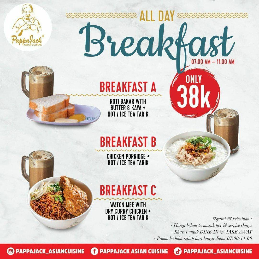 Diskon Pappajack Promo All Day Breakfast Only IDR. 38.000