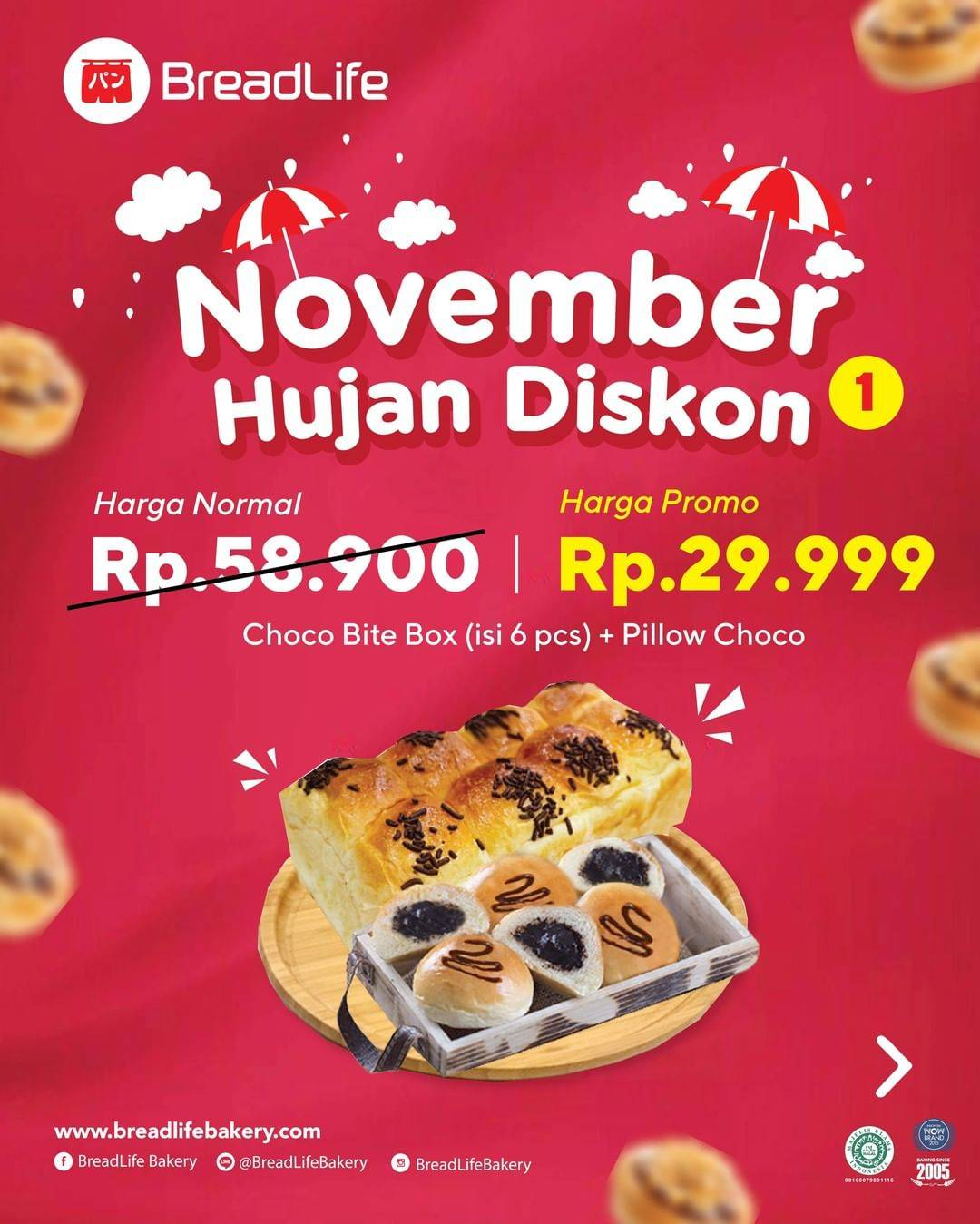 Promo diskon Breadlife Promo November Hujan Discount Up To 55% Off