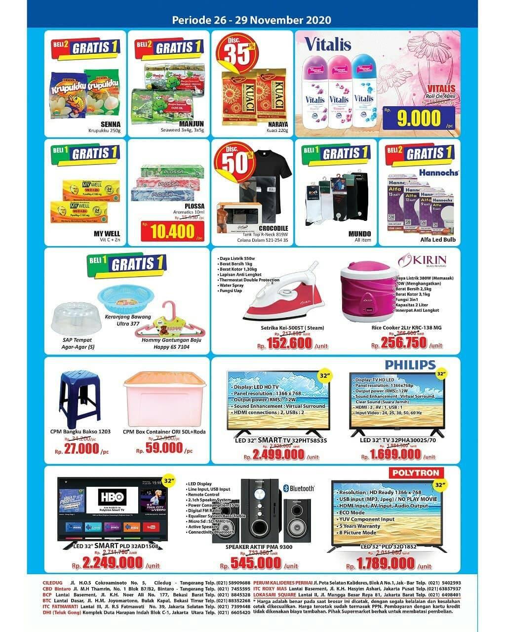 Promo diskon Katalog Promo Hari Hari Swalayan KJSM Periode 26 - 29 November 2020
