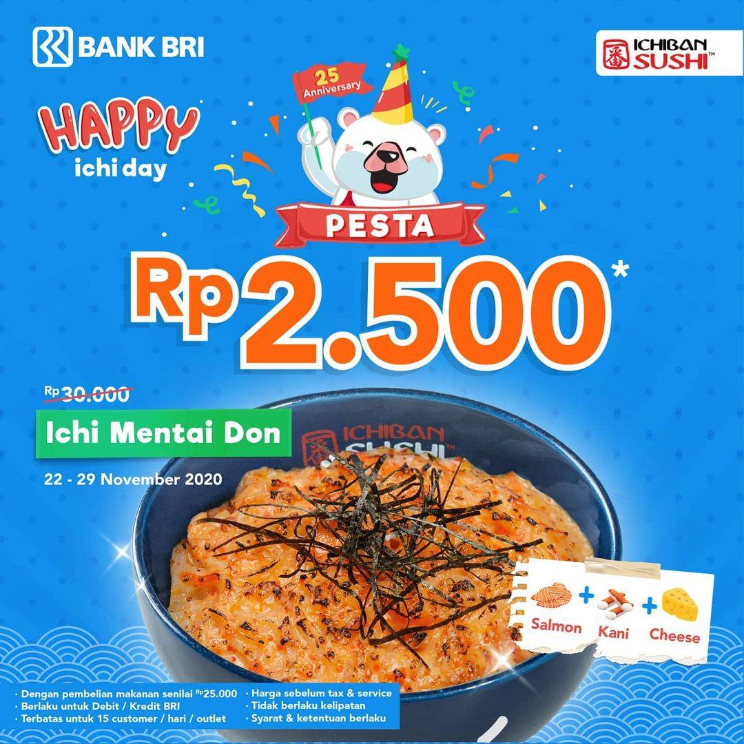 Diskon Ichiban Sushi Promo BRI Happy Ichi Day Pesta Rp 2500