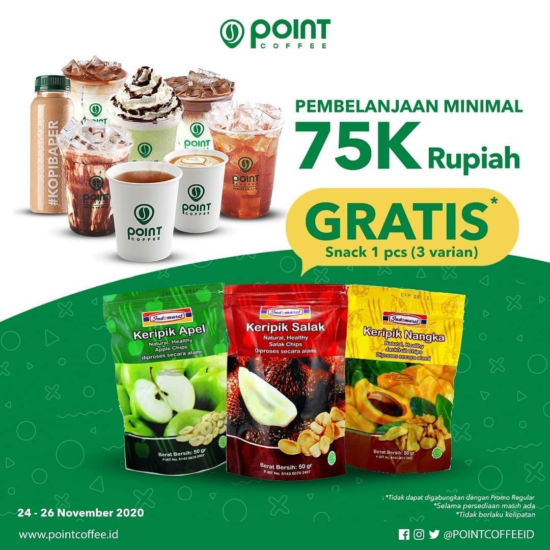 Diskon Indomaret Point Coffee Gratis Snack Pilihan