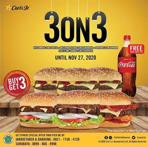 Diskon Carls Jr Buy 3 Get 3 Free Burger