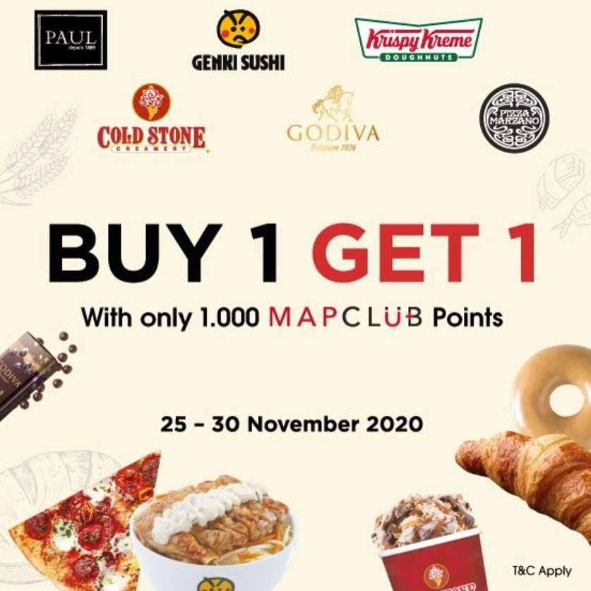 Diskon MapClub Buy 1 Get 1 Free With Only Rp. 1.000 Mpclub Points On Selected Resto