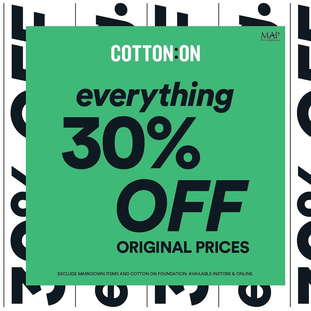 Diskon Cotton On Discount 30% Off On All Items