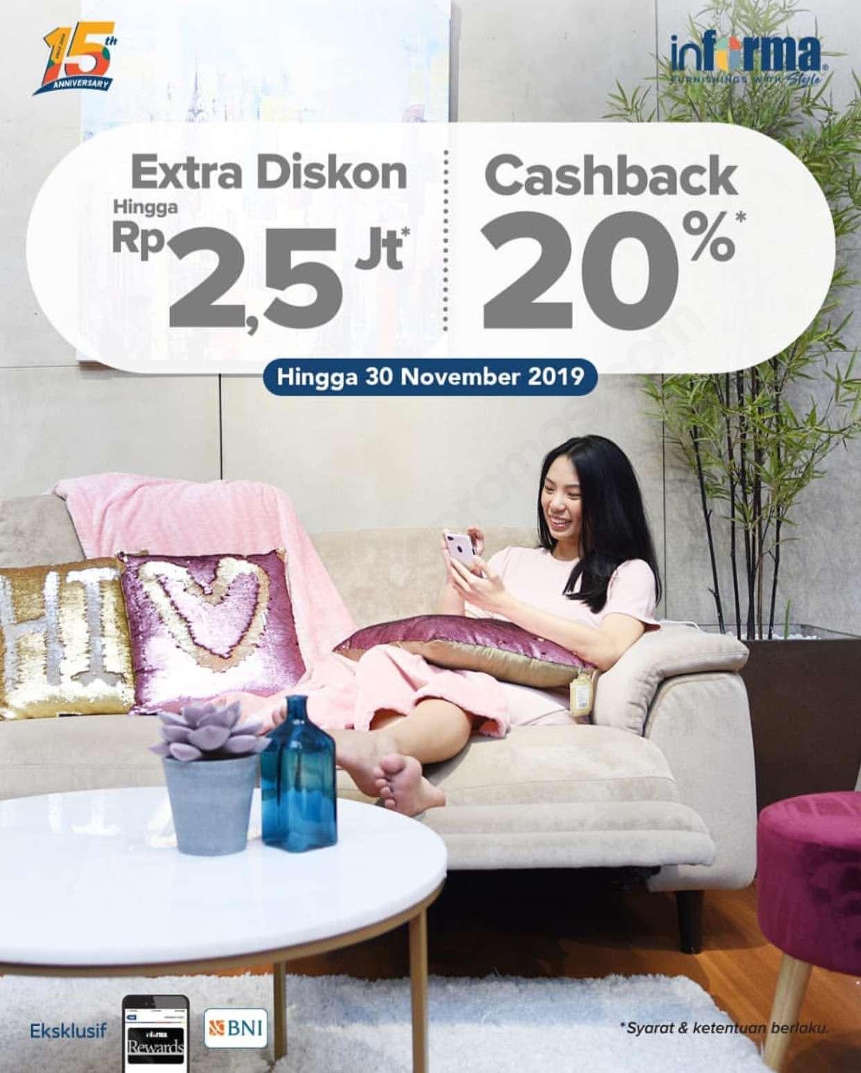 Informa Promo Double Deals Extra Discount hingga Rp 2.5 Juta dan Cashback 20%