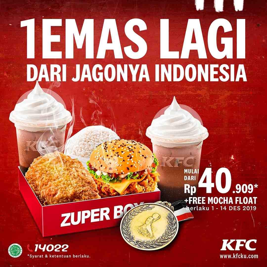 KFC Promo Gratis Mocha Float setiap pembelian Paket Zuper Box