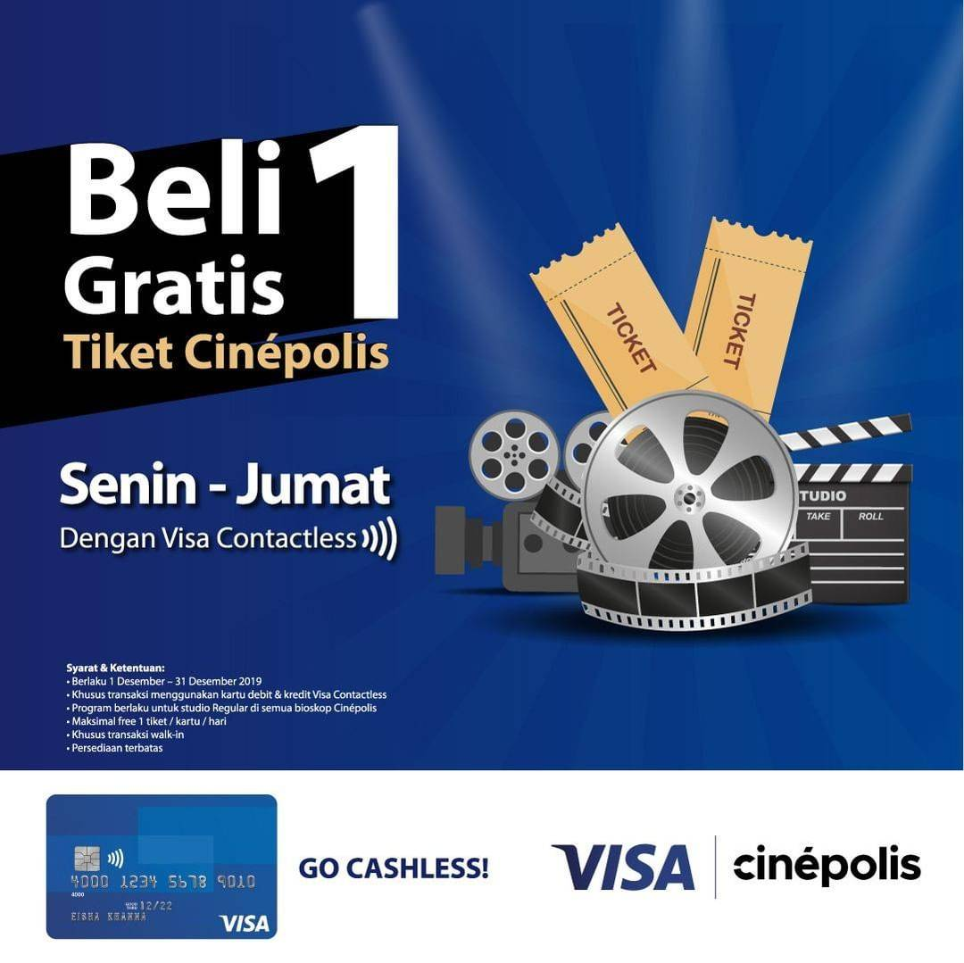 Diskon Cinepolis Promo Buy 1 Get 1 dengan Visa Contactless