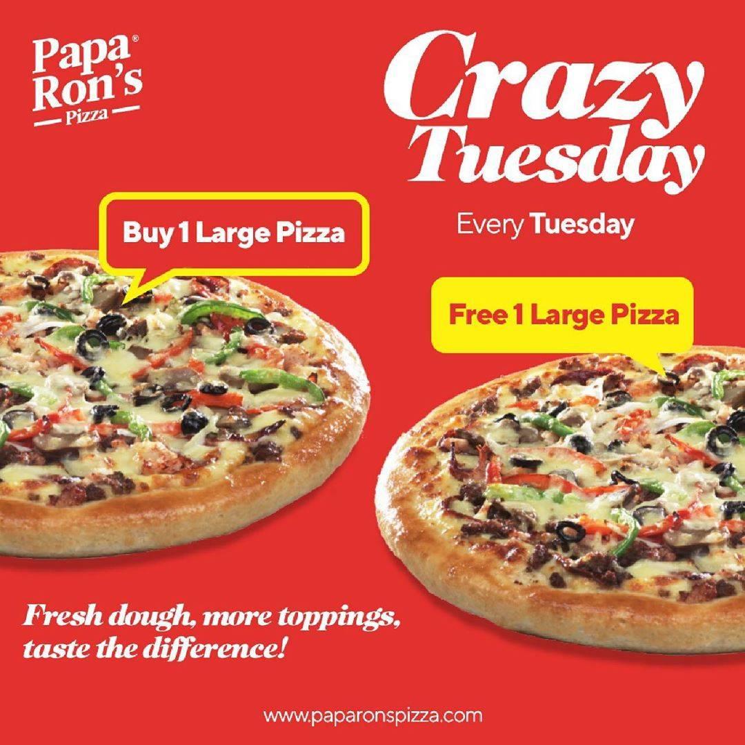 Diskon Paparons Crazy Tuesday Promo Buy 1 Large Pizza Free 1 Large Pizza