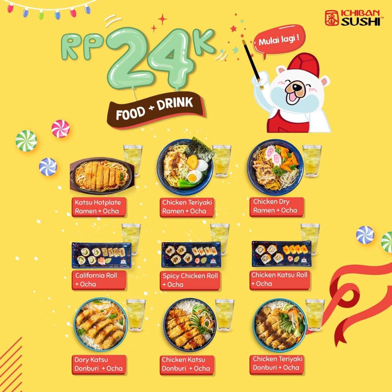 Ichiban Sushi Promo Spesial Paket Makan + Minum hanya Rp. 24.000 saja