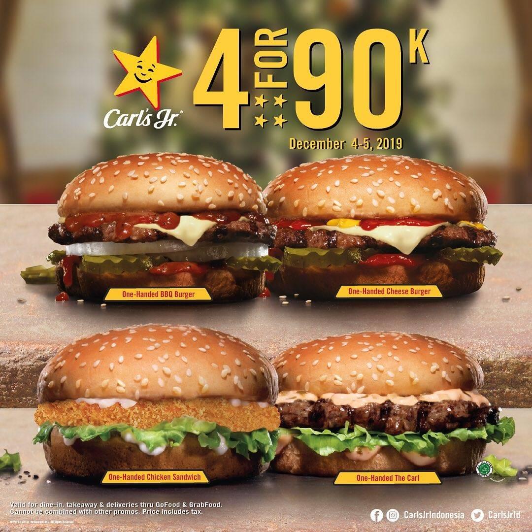 Diskon Carls Jr 4 For 90, Beli Paket 4 Menu Hanya Rp. 90.000.