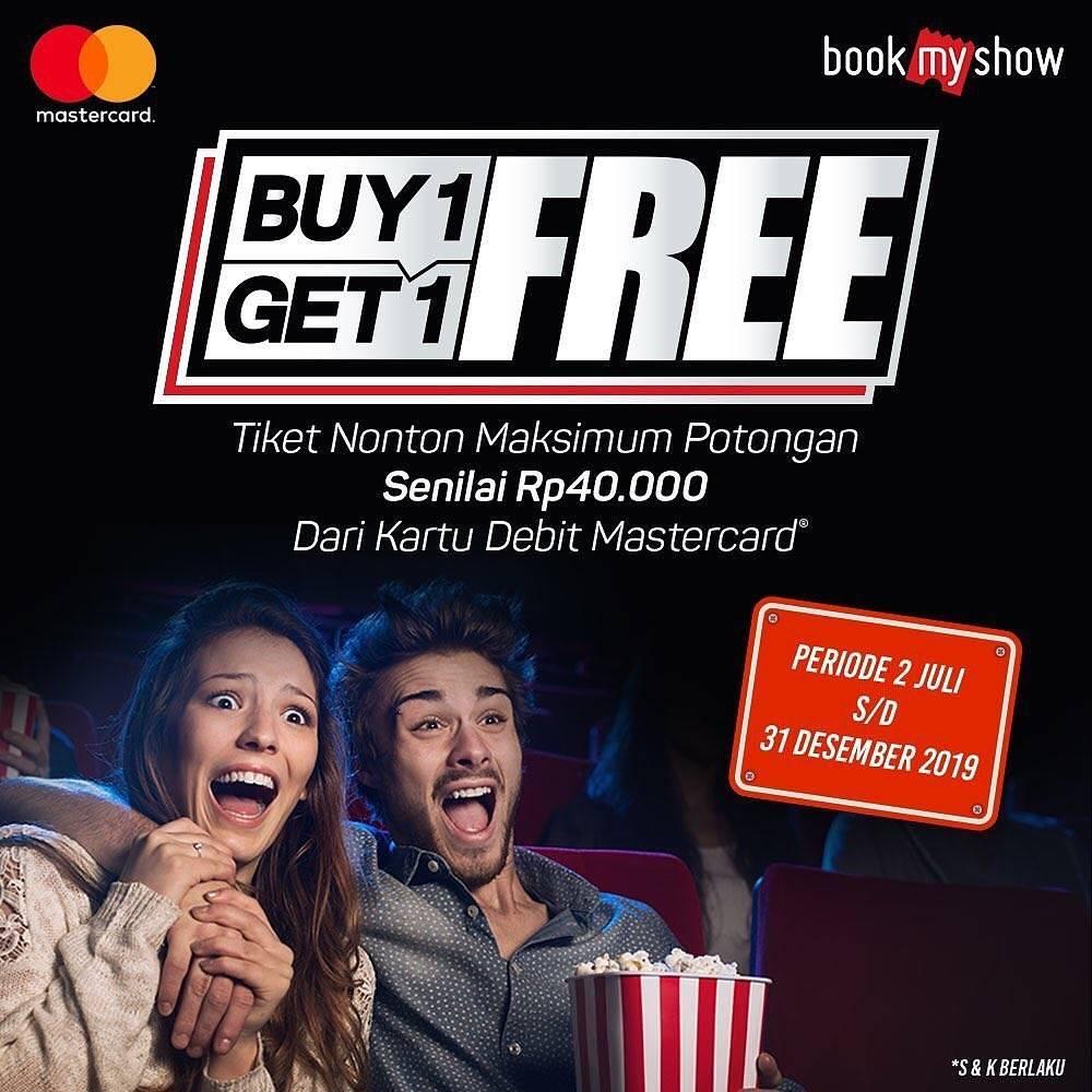 BookMyShow Promo Beli 1 Gratis 1 Dengan Kartu Debit Berlogo Mastercard