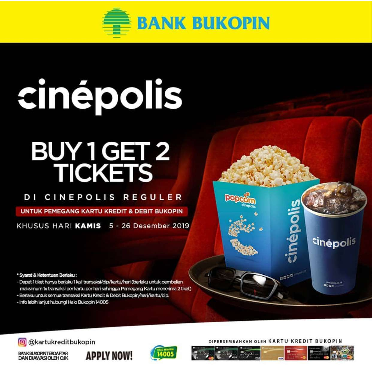 Bukopin Promo Buy 1 Get 2 Tickets Dengan Kartu Kredit & Debit