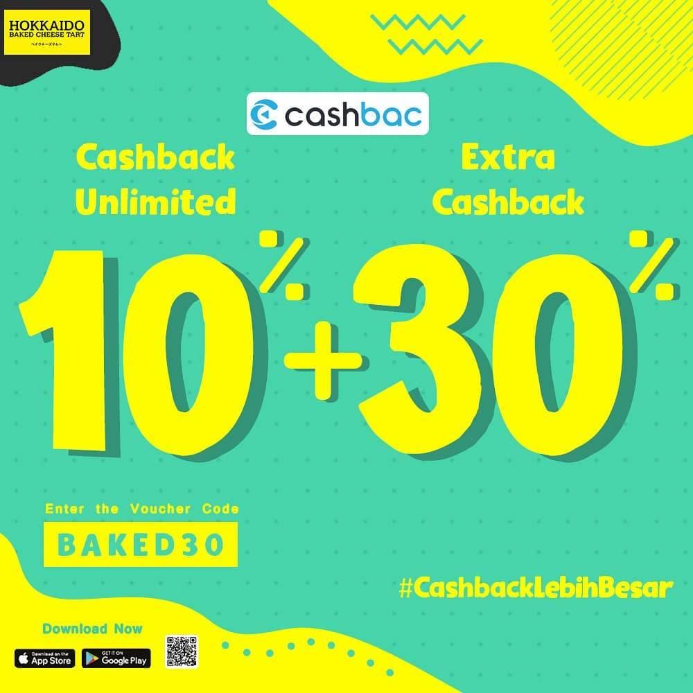 Hokkaido Baked Cheese Tart Promo Cashback 10% + 30% Dengan Cashbac App